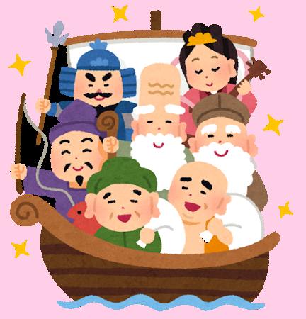 宝船に乗る七福神のイラスト