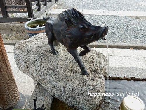 手水場の猪の拡大画像