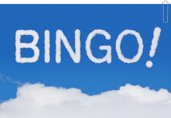 雲で書かれたBINGO!の文字
